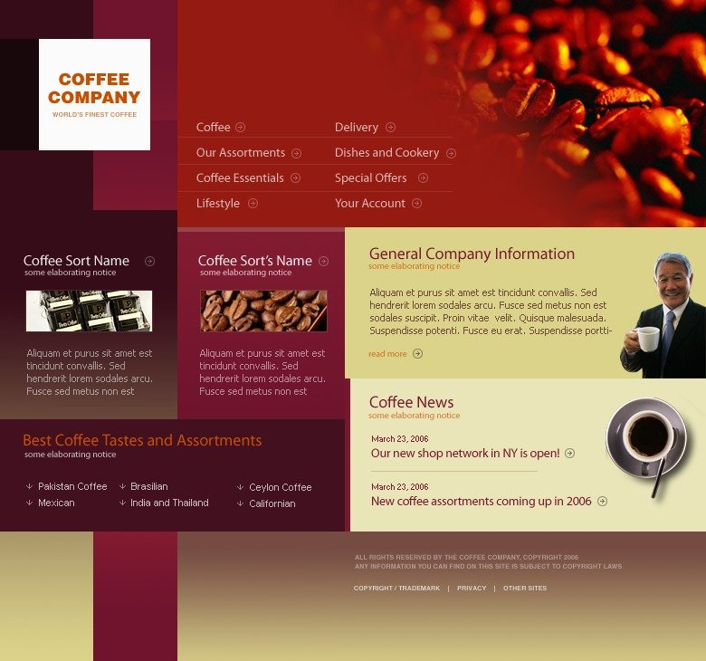 coffee shop website template 11669. Black Bedroom Furniture Sets. Home Design Ideas