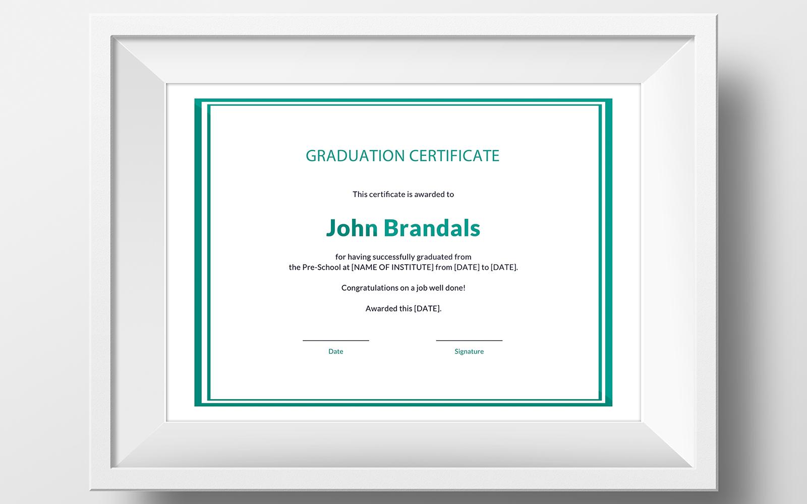 Free High School Graduation Certificate Template #116141