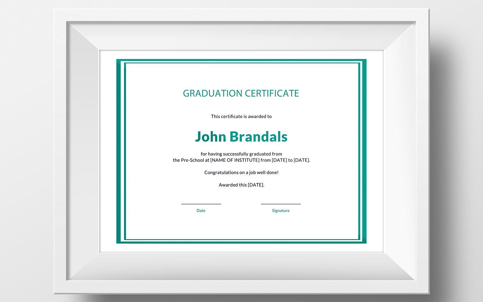 Szablon certyfikatu Free High School Graduation #116141