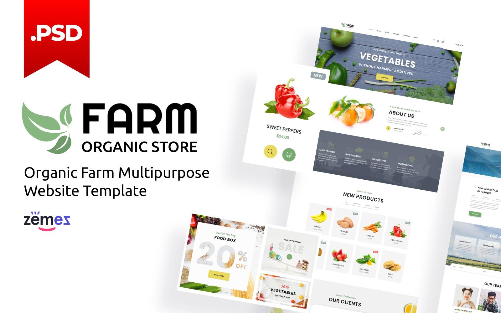"""""""Farm - Organic Store Multipurpose HTML"""" modèle PSD adaptatif #116430"""