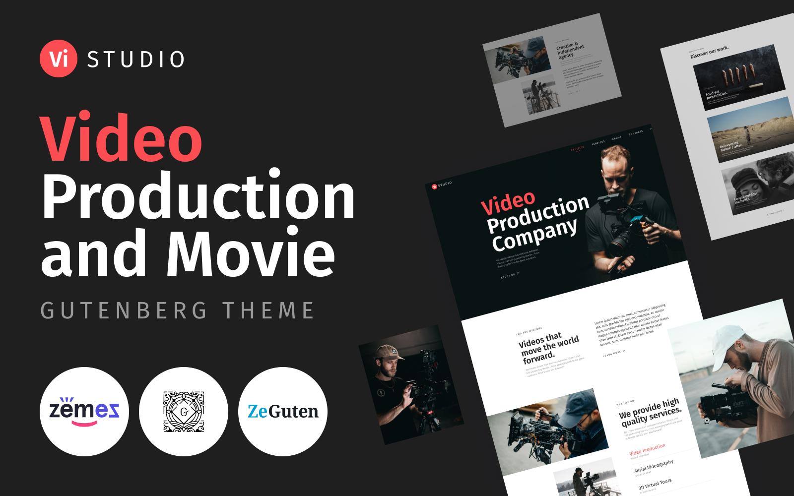 "Modello WordPress Responsive #116426 ""Vistudio - Video Production and Movie"""