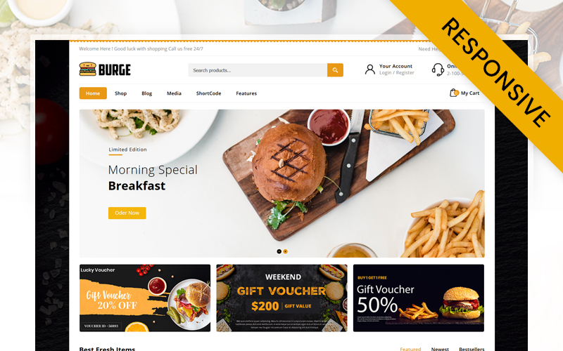 Responsywny motyw WooCommerce Burge - Fast Food Store #116423