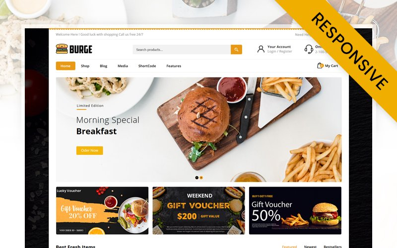 "Responzivní WooCommerce motiv ""Burge - Fast Food Store"" #116423"