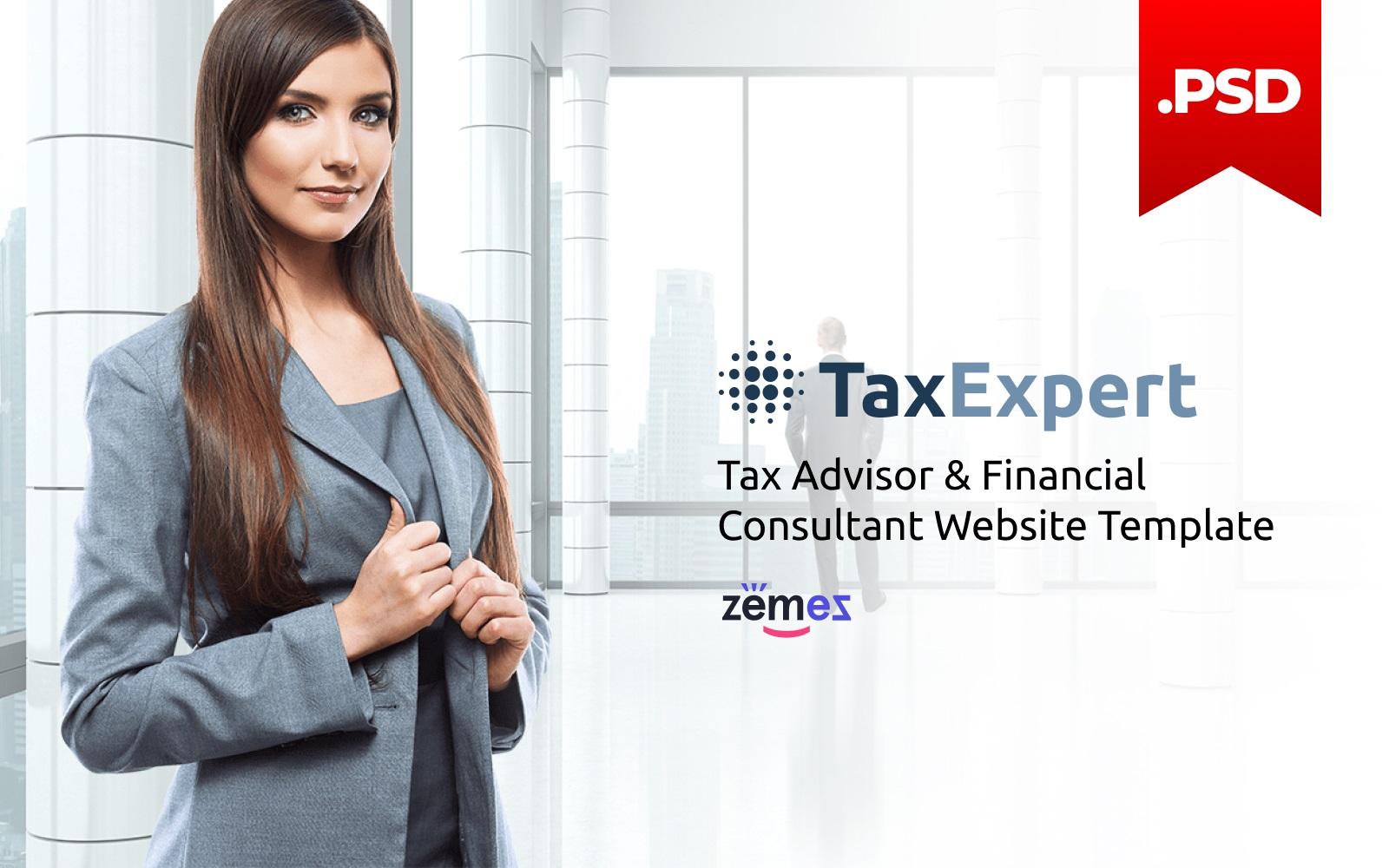 Reszponzív TaxExpert - Tax Advisor & Financial Consultant PSD sablon 116431