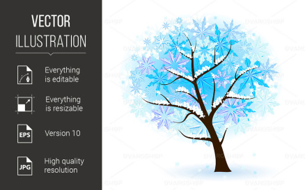 Stylized Winter Fruit Tree Vector Graphic