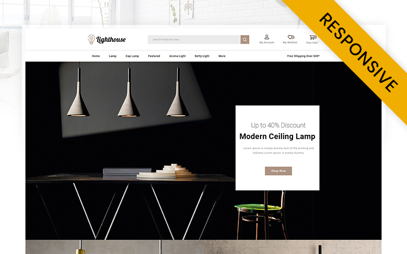 """LightHouse  - Modern Lamp Store"" Responsive OpenCart Template №116746"