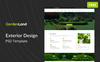 Garden Land - Exterior Design Multipage Free PSD Template