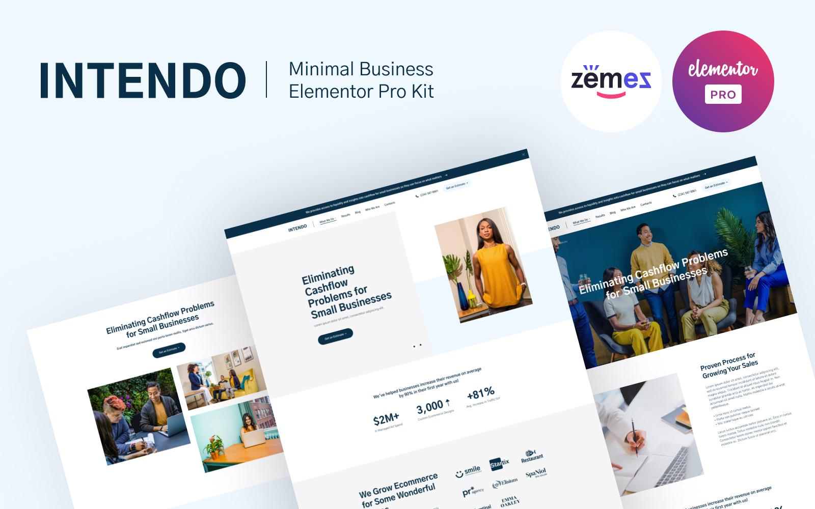 Reszponzív Intendo - Minimal Clean Business Elementor sablon 116883