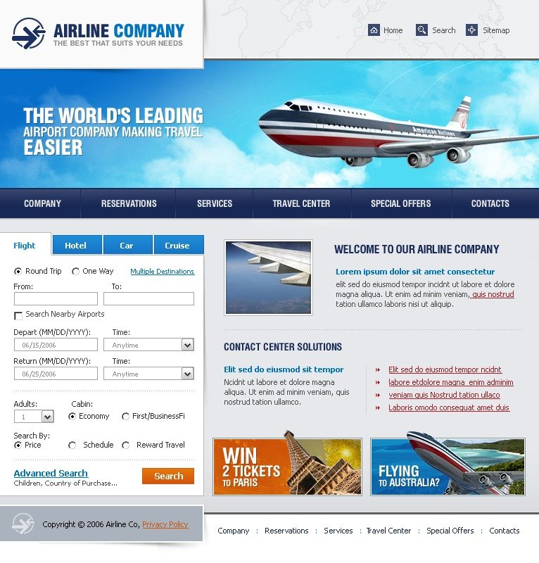 Airline tickets website template 11712 for Website layout maker