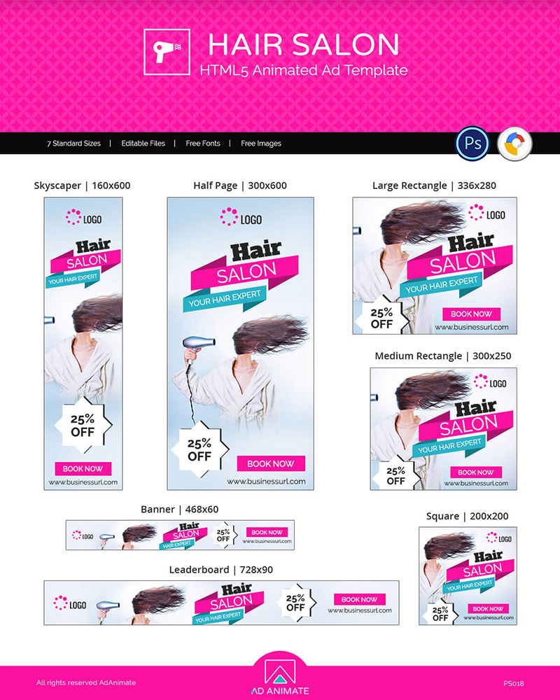 "Animated Banner ""Hair Salon Templates - HTML5 Design"" #117010"