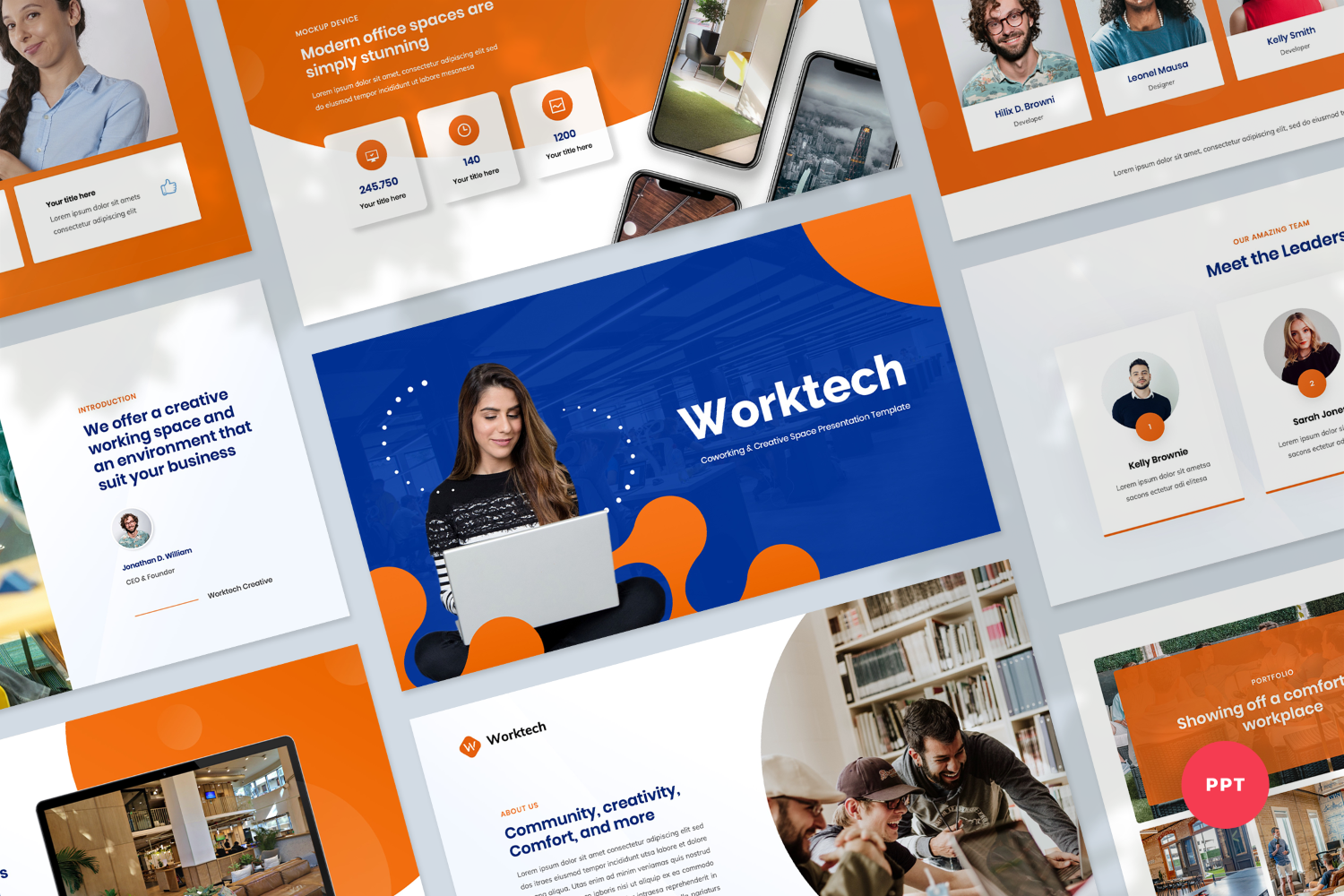 Coworking and Creative Space Presentation PowerPoint Template