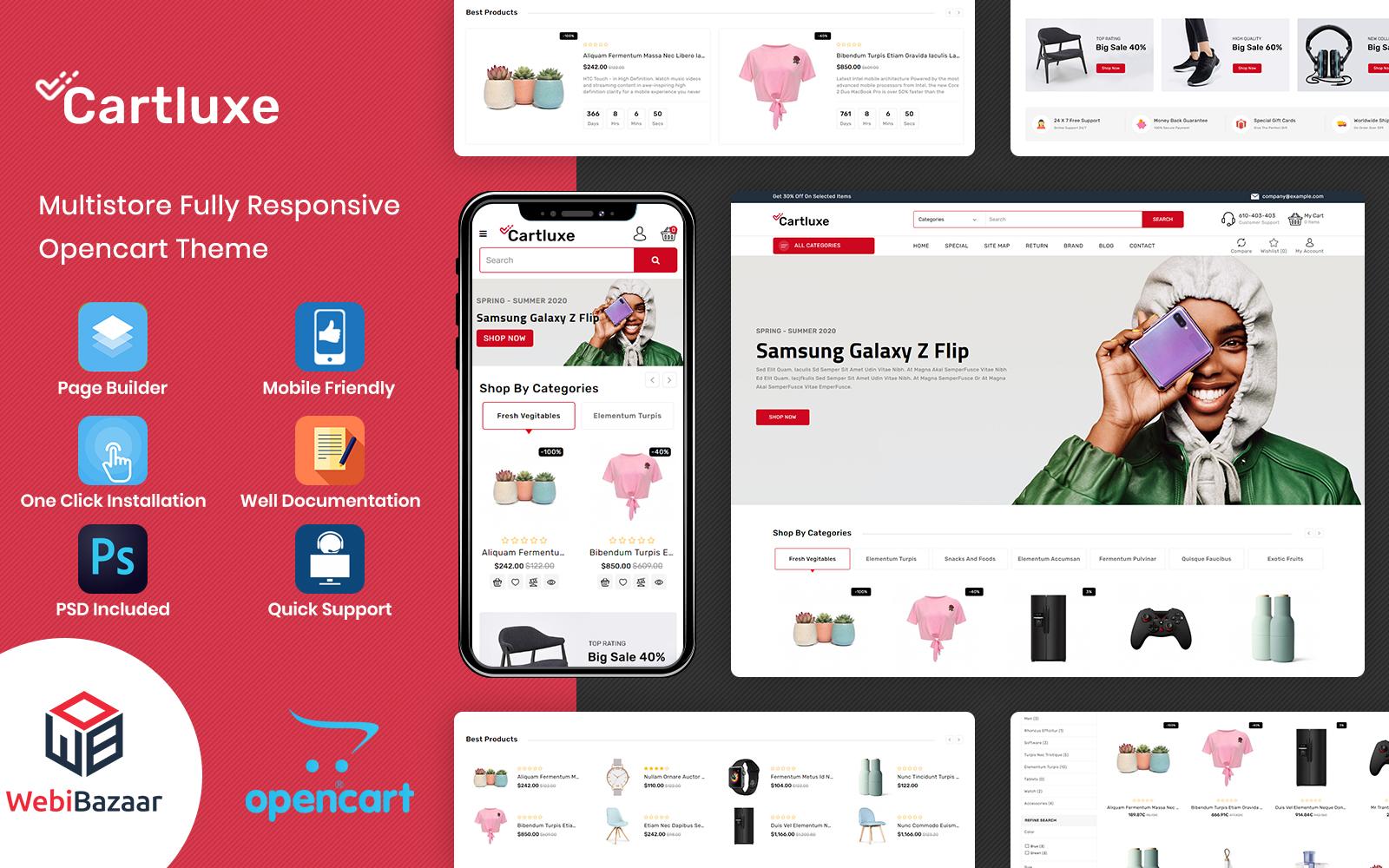 """CartLuxe - Supermarket Multipurpose"" Responsive OpenCart Template №117211"