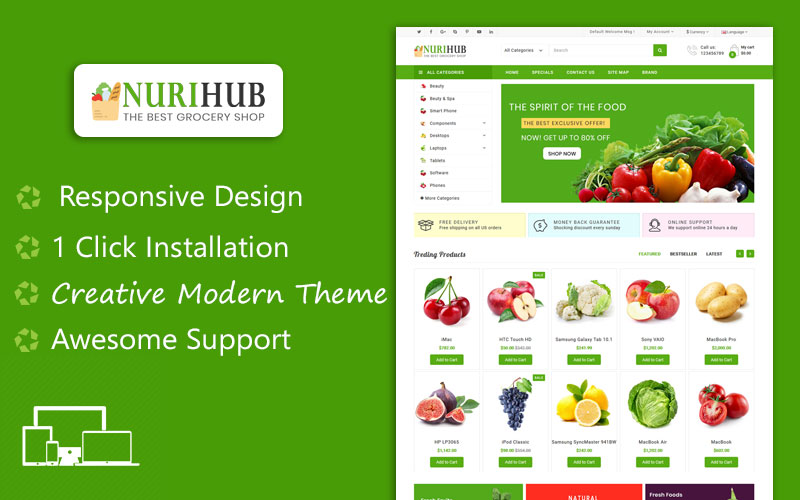 NuriHub Organic & Grocery Responsive Theme №117214