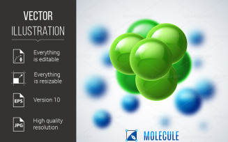 Green and Blue Molecular Structure - Vector Image