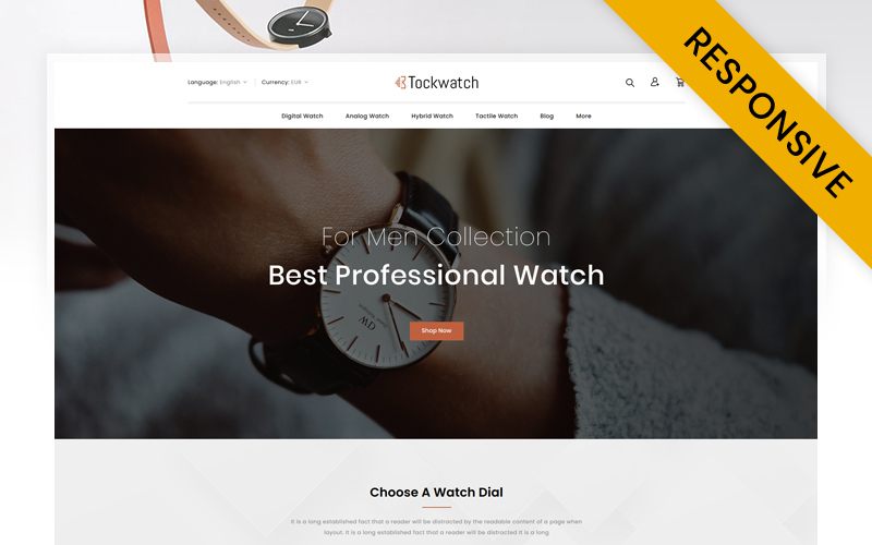 "Modello PrestaShop Responsive #117437 ""Tockwatch - Antique Watch Store"""