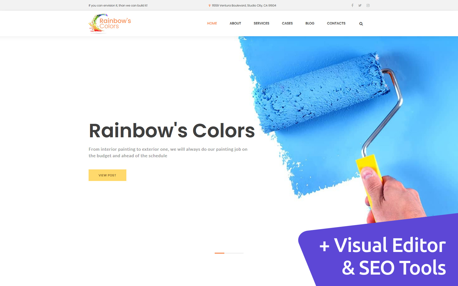 """Rainbow's - Painting Company"" 响应式Moto CMS 3 模板 #117440"