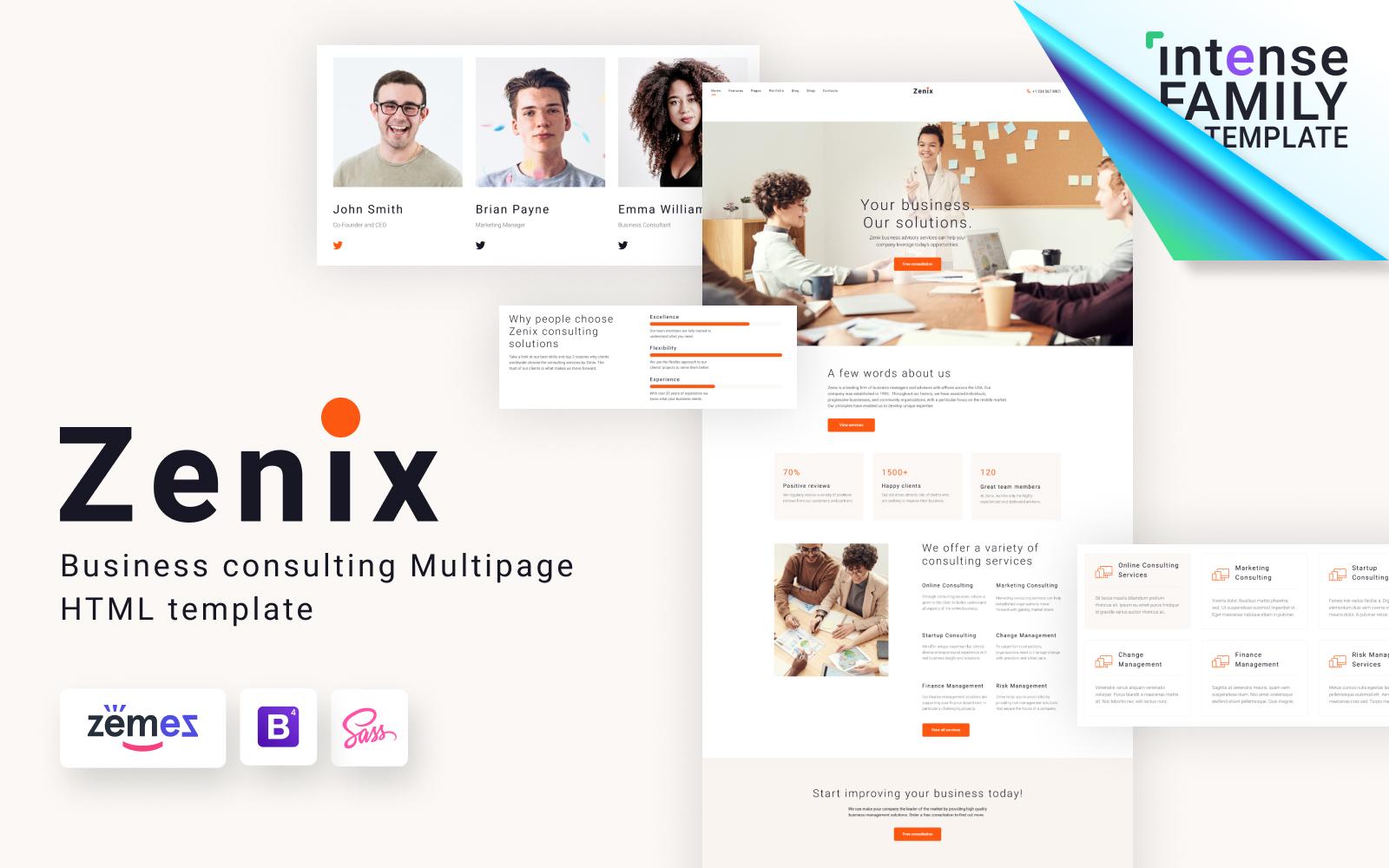"""Modello Siti Web Responsive #117596 """"Zenix - Business Consulting HTML"""""""