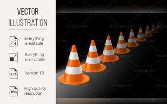 Row of Traffic Cones - Vector Image