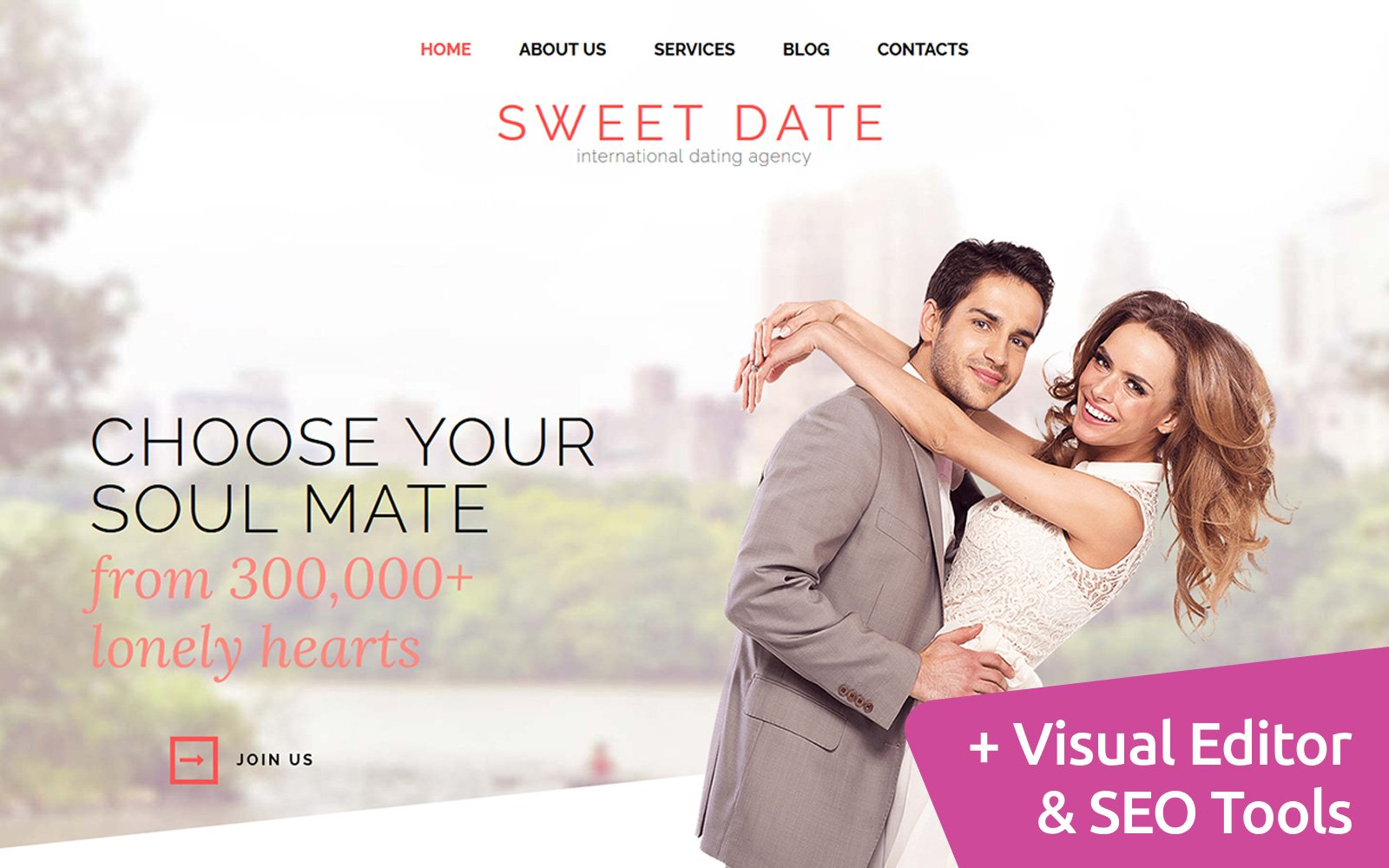 """Sweet Date - Dating"" modèle Moto CMS 3 adaptatif #117597"