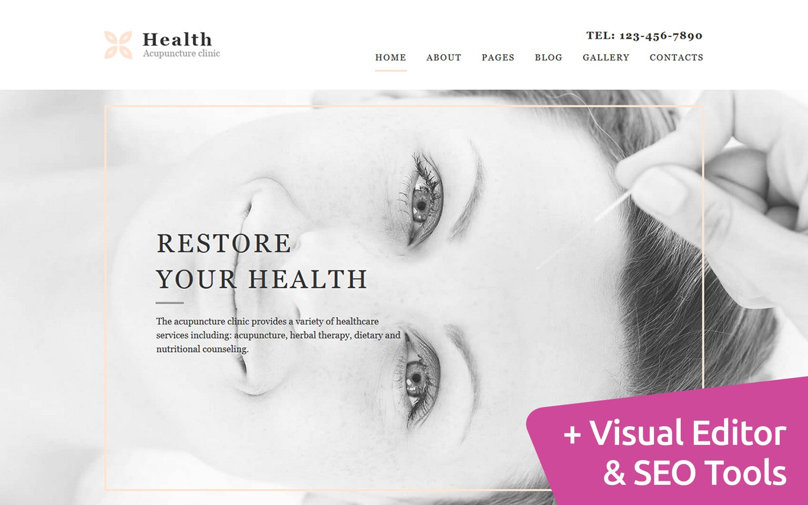 """Moto CMS 3 Template namens """"Health - Acupuncture Clinic"""" #117728"""