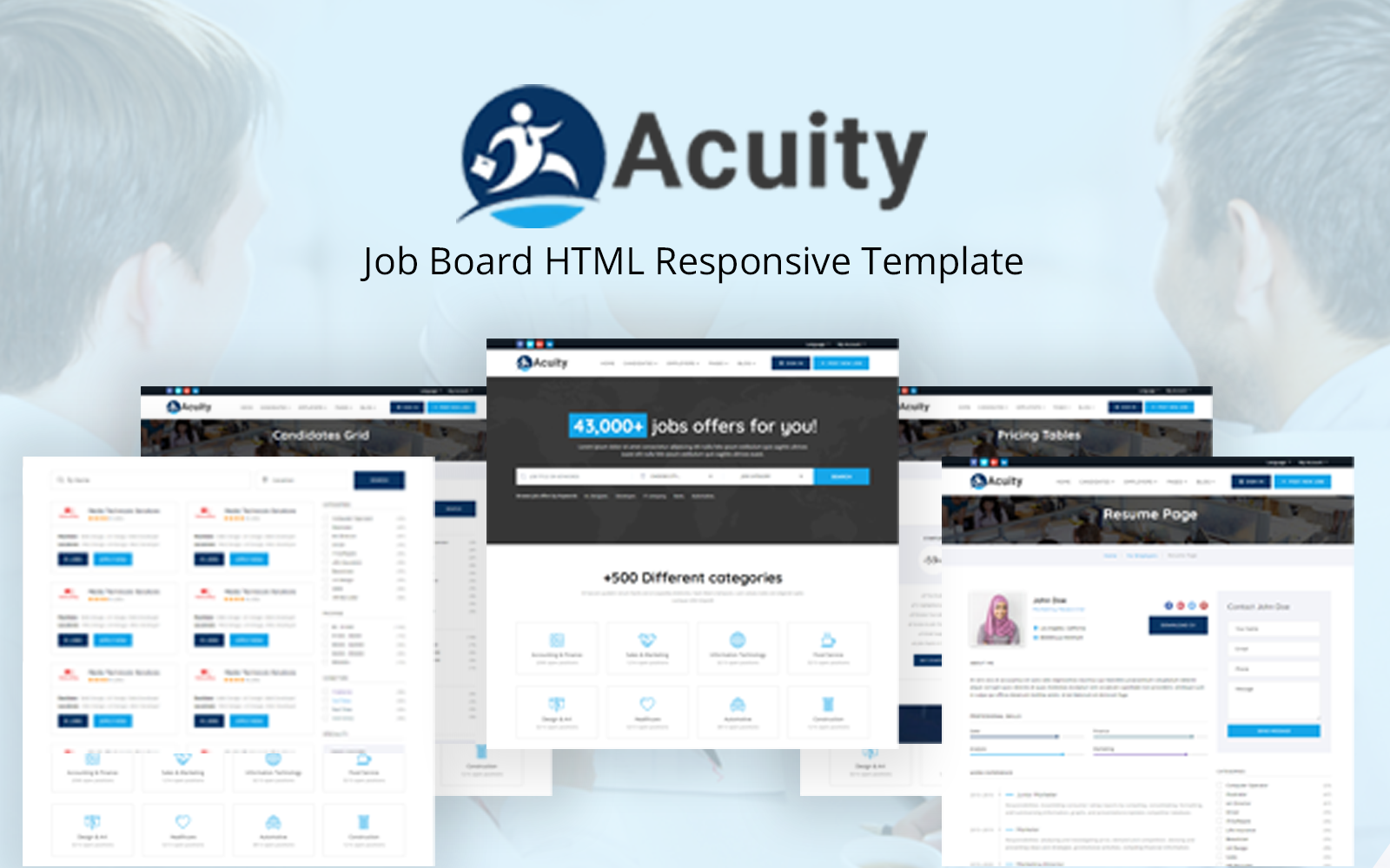 Acuity - Job Board HTML Responsive Template Web №117882