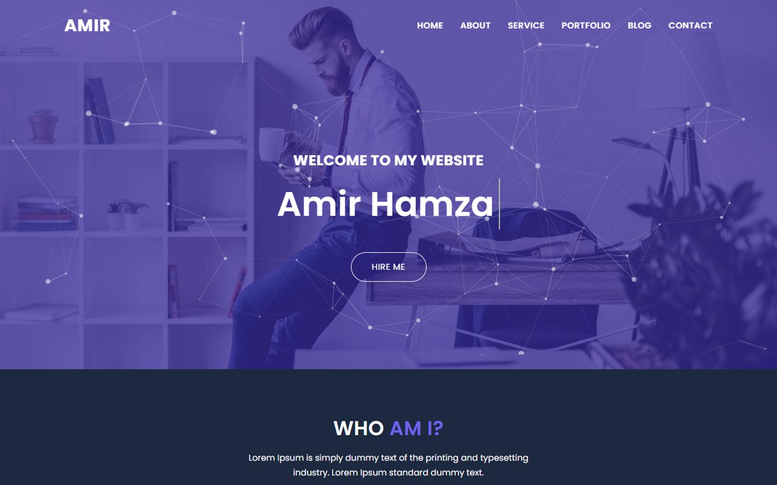 Amir Free Personal Portfolio Landing Page Template