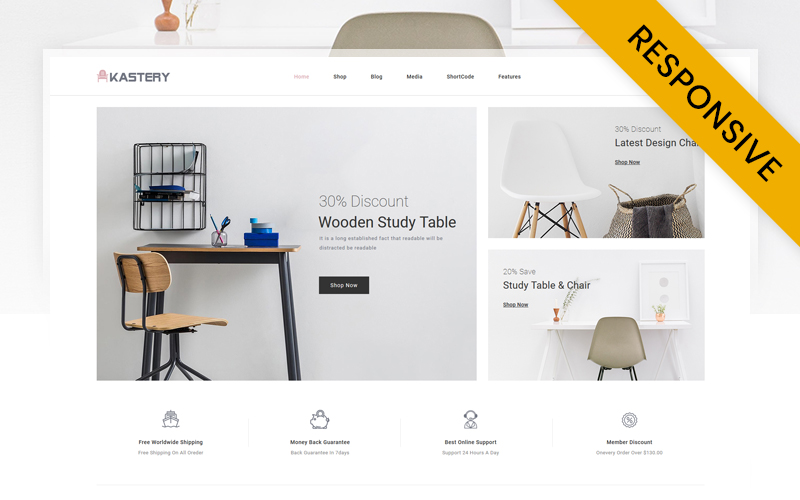 """Kastery - Wood Furniture Store"" - адаптивний WooCommerce шаблон №117880"