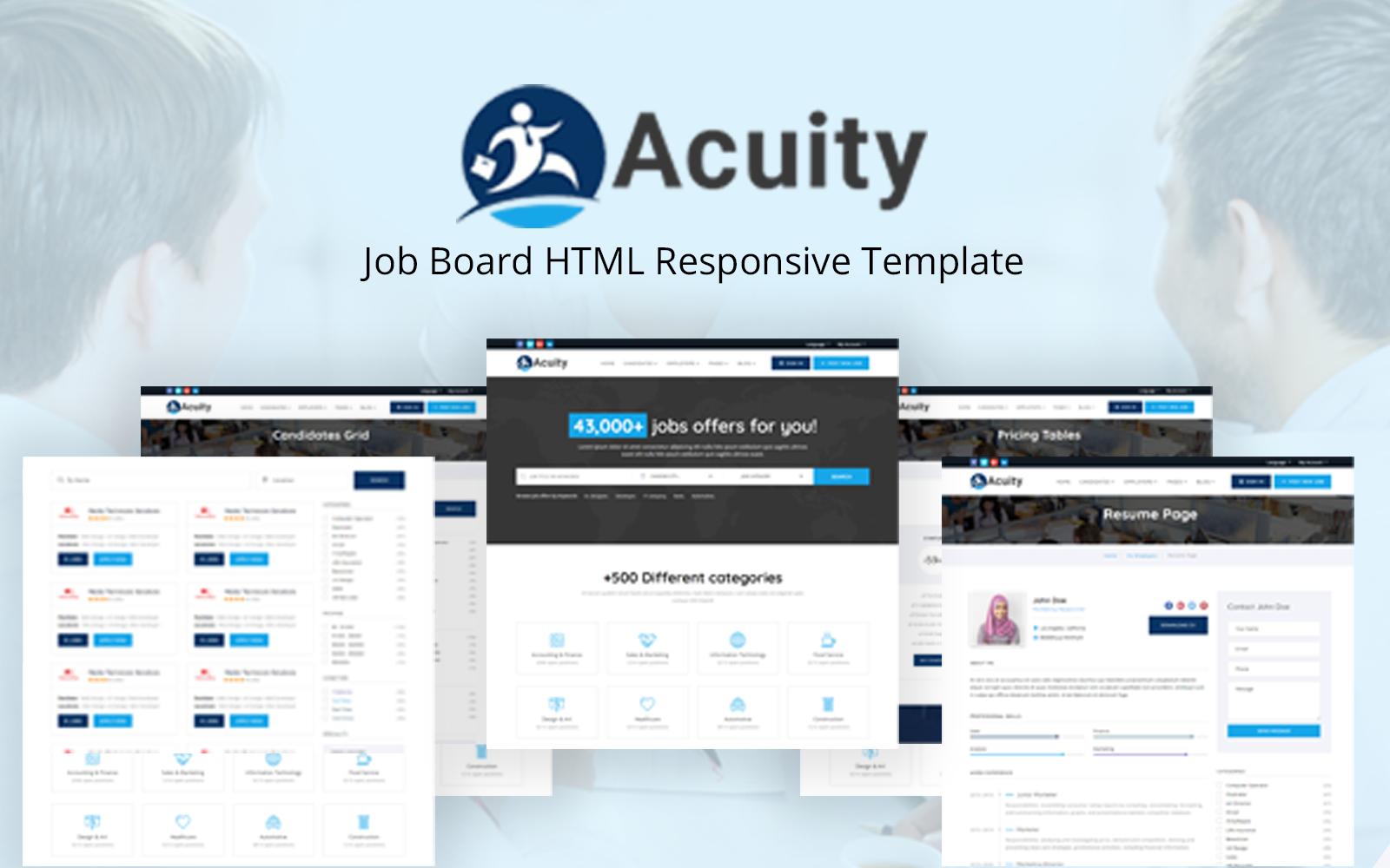"Plantilla Web ""Acuity - Job Board HTML Responsive"" #117882"