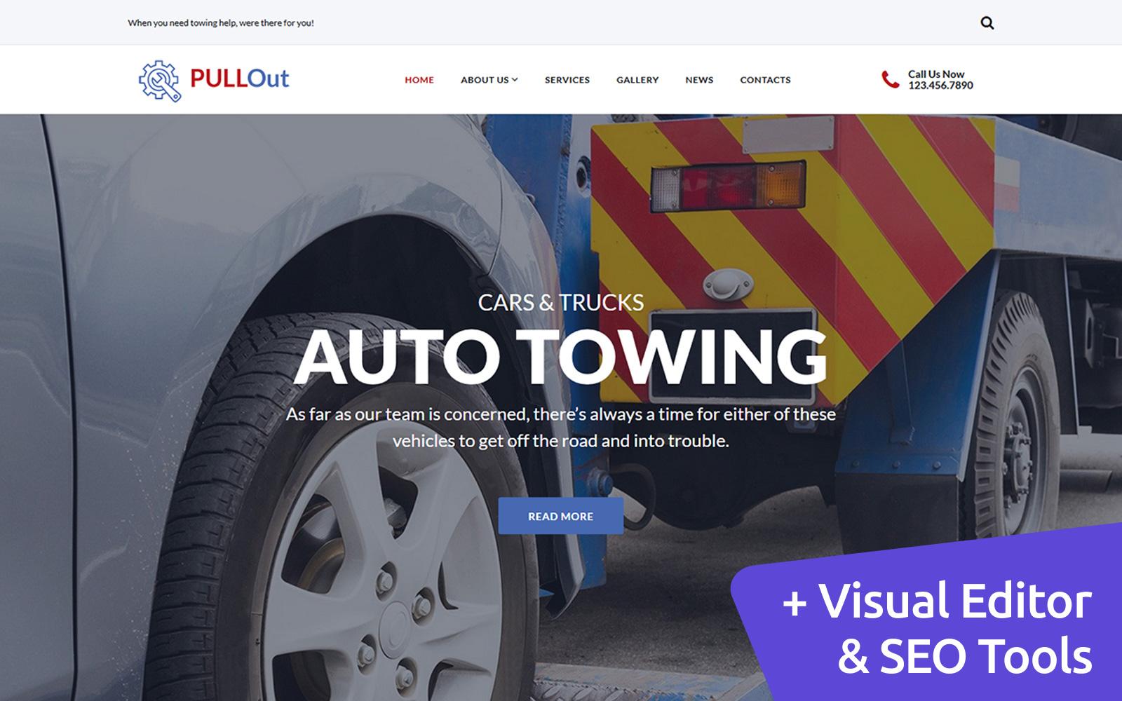 """""""PullOut - Auto Towing"""" - адаптивний MotoCMS 3 шаблон №117888"""