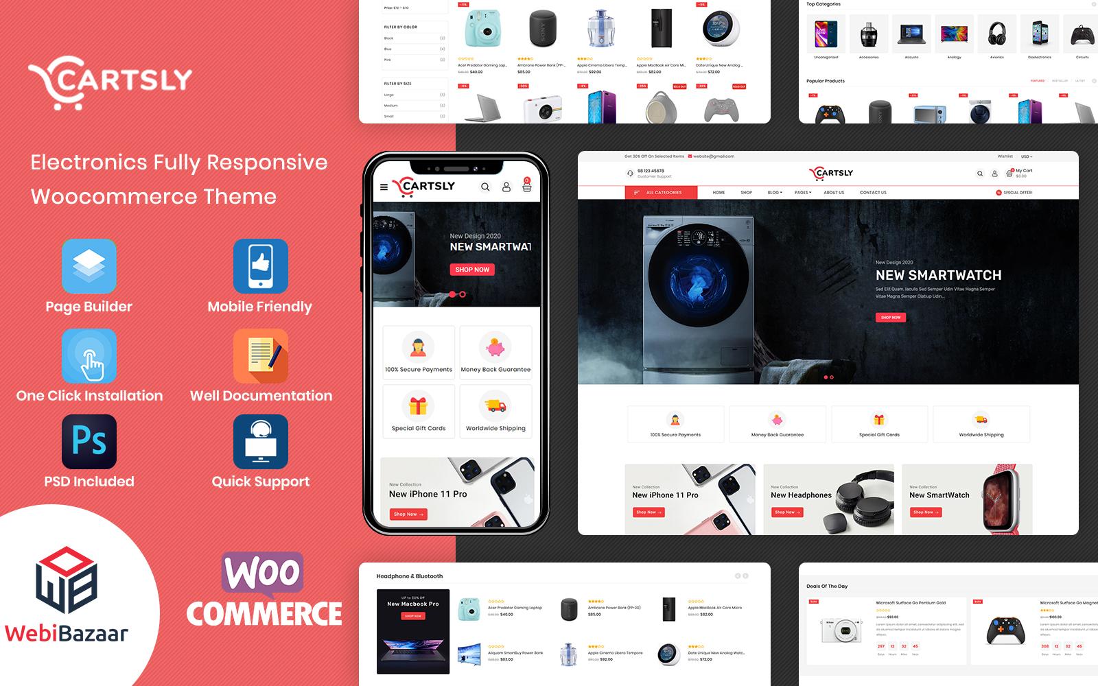 Responsywny motyw WooCommerce Cartsly - Electronics Multipurpose E-commerce #117883