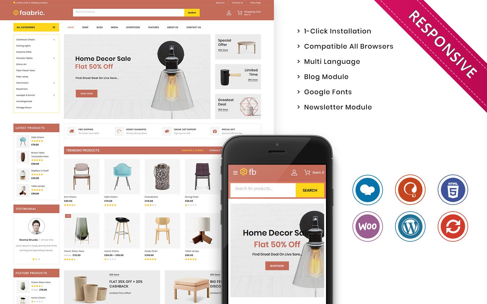 """Faabric - The Furniture Store Responsive"" thème WooCommerce adaptatif #118364"