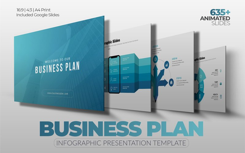 """Infographic Business-Plan Presentation"" 奖金PowerPoint 模板 #118387"