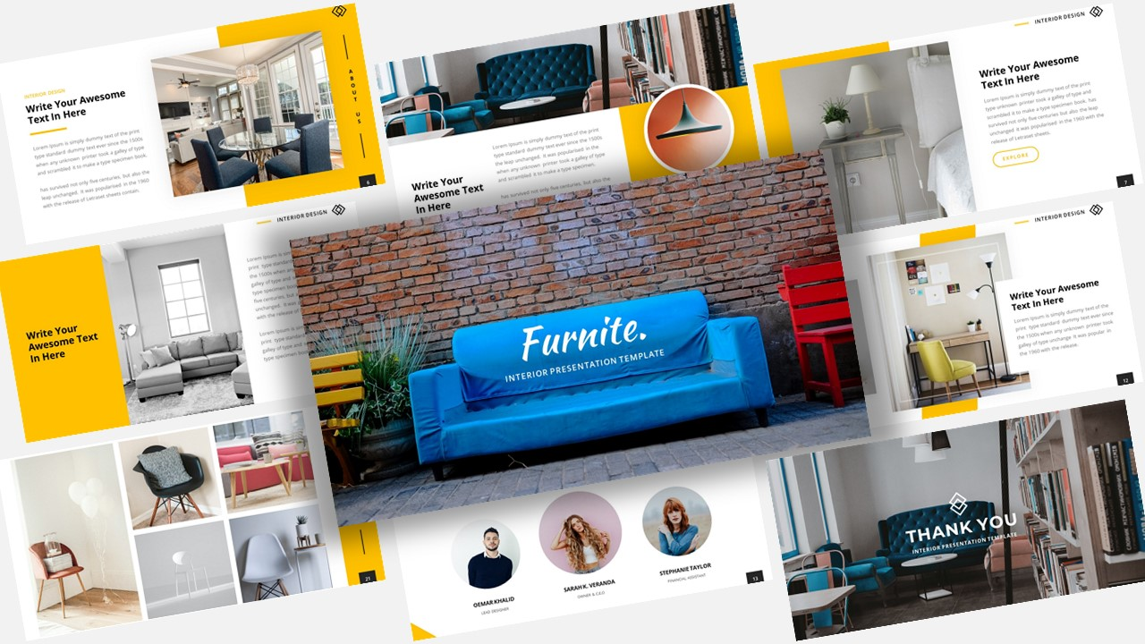 """Luxusní Google Slides """"Furnite Interior Design"""" #118374"""