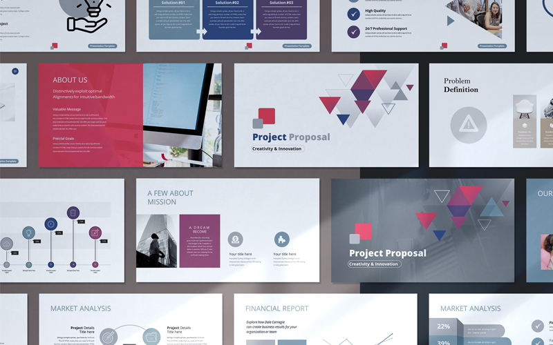 """Minimal Project Proposal Presentation"" modèle PowerPoint Premium #118301"