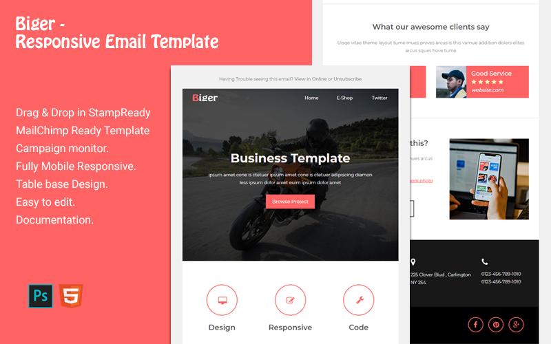 """Responzivní Newsletter šablona """"Biger - Responsive Email"""" #118366"""