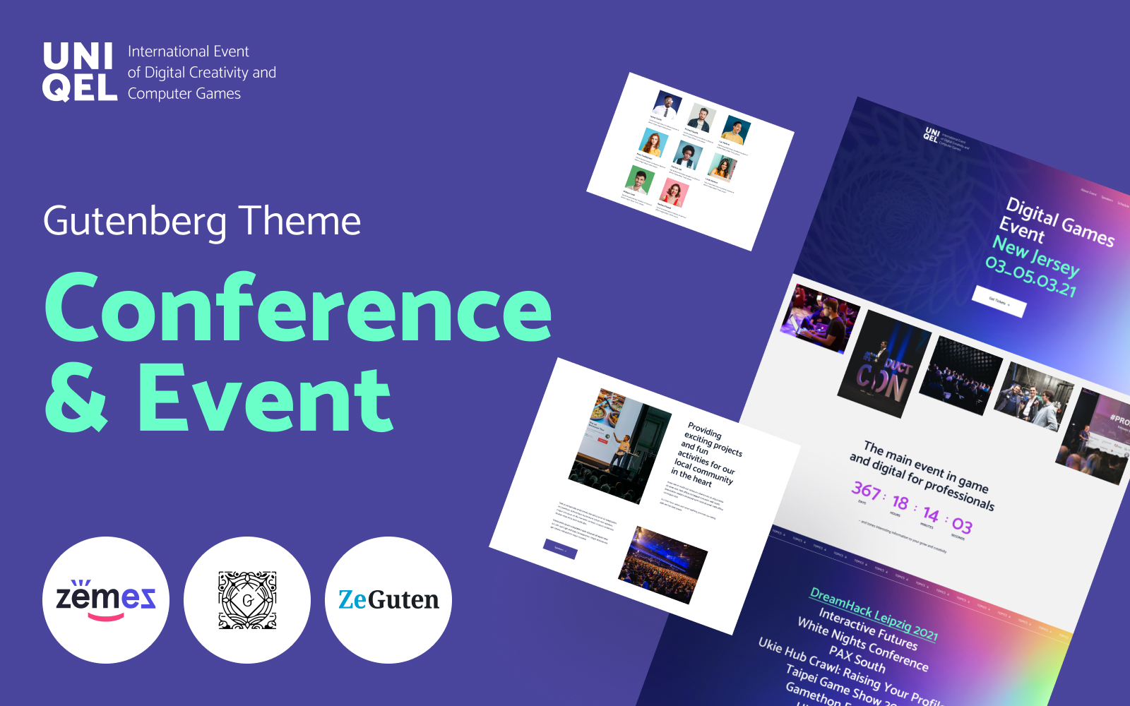 """""""Uniqel - Conference and Event"""" Responsive WordPress thema №118372"""