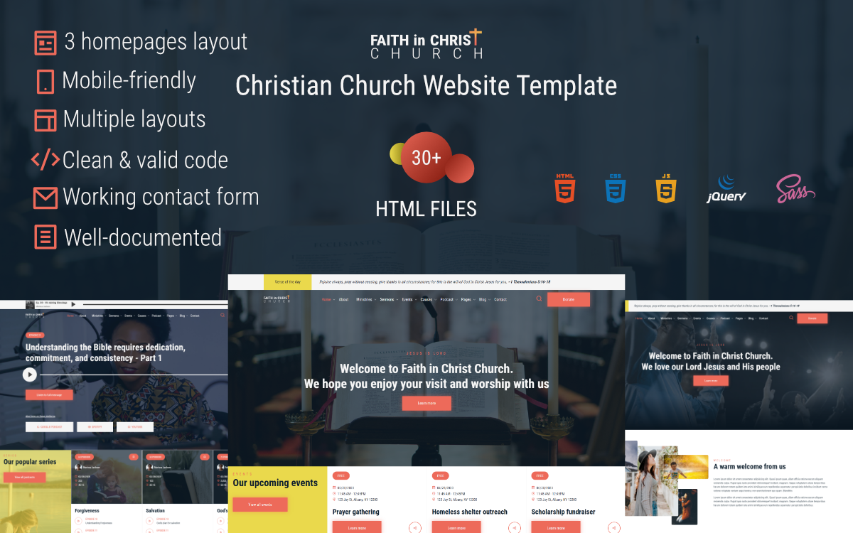 """Faith in Christ Church – Christian Church"" modèle web adaptatif #118518"