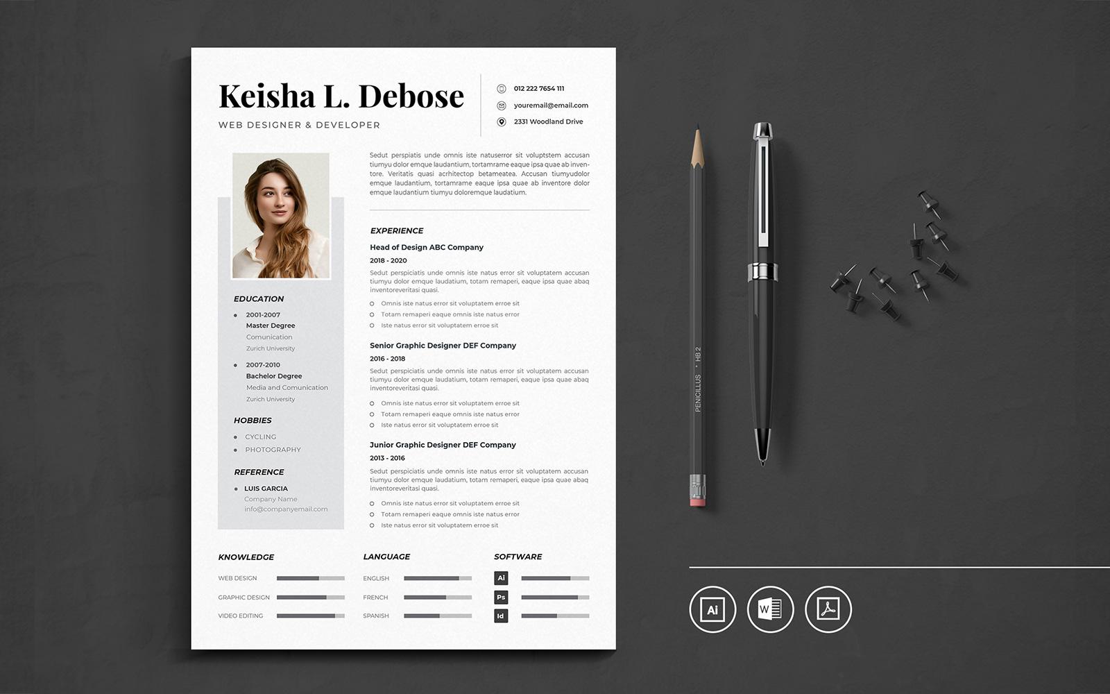 """Professional CV Resume Template Vol.18"" modèle de CV  #118505"
