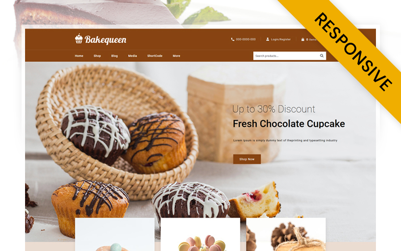 Responsywny motyw WooCommerce Bakequeen - Bakery Store #118513