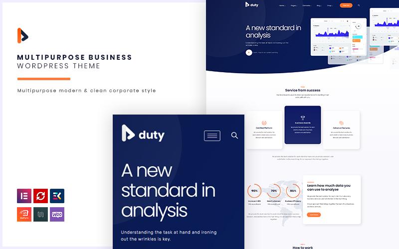 """""""Duty - Multipurpose Business"""" Responsive WordPress thema №118709"""
