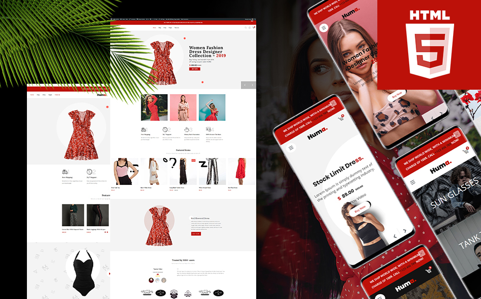 """""""Huma - Bootstrap 4 ecommerce HTML5"""" Responsive Website template №118710"""