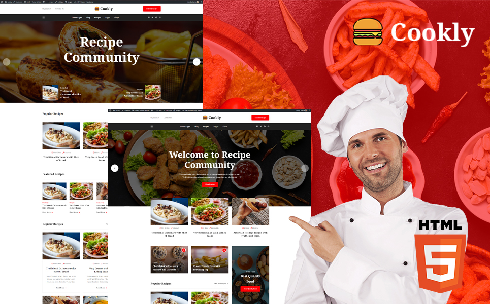 "Template Siti Web Responsive #118708 ""Cookly - Food and Recipe HTML Theme"""