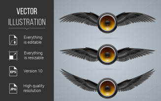 Three Two-Winged Music Speakers - Vector Image