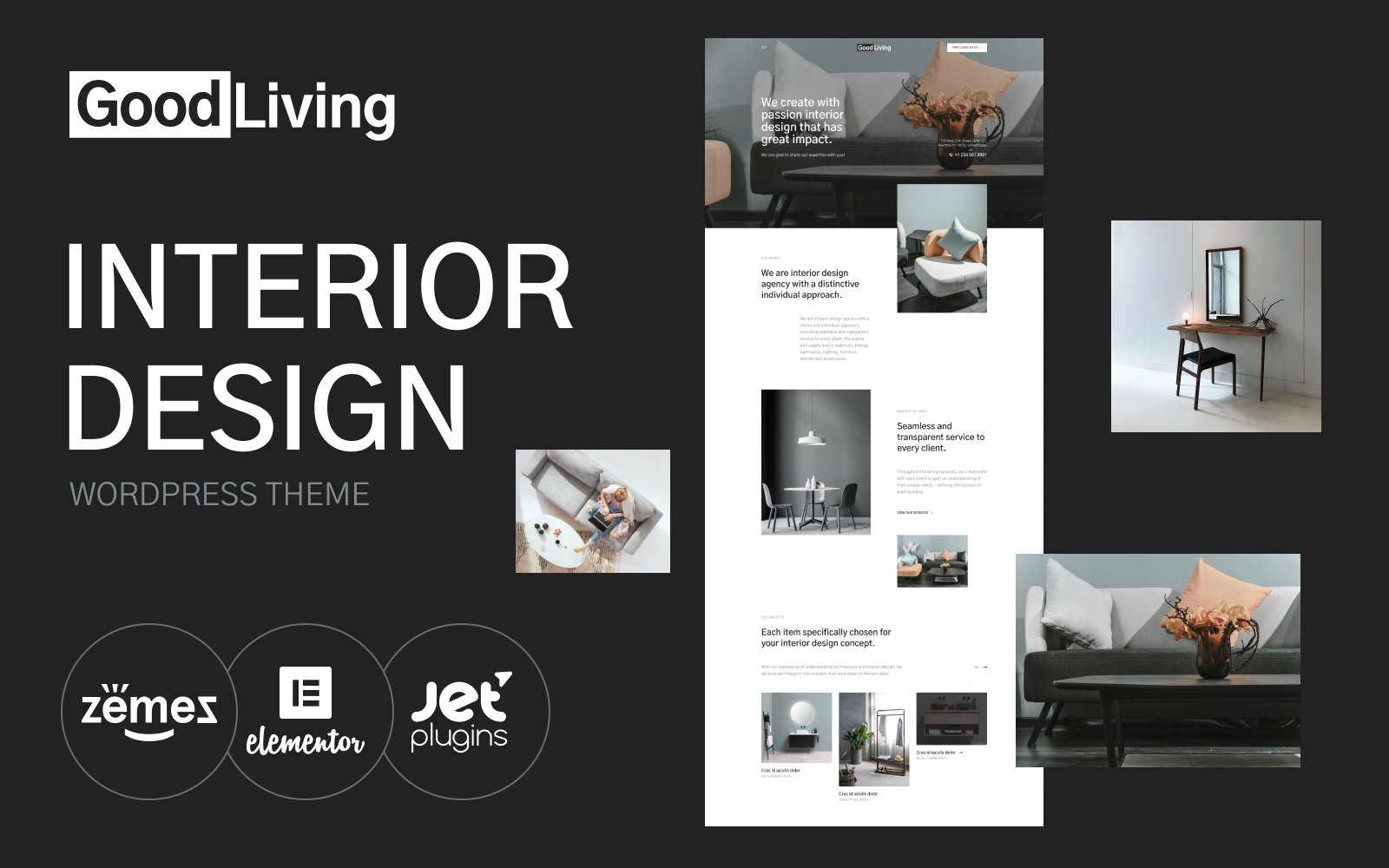 "Responzivní WordPress motiv ""GoodLiving - Interior Design"" #118998"