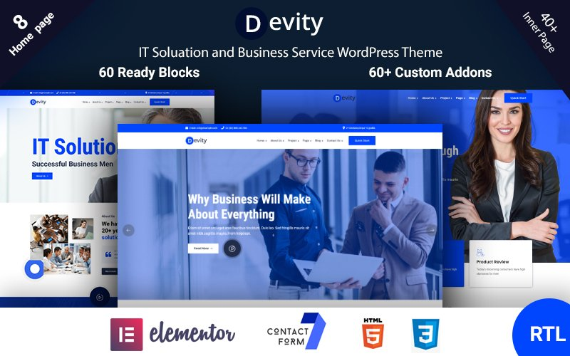 Reszponzív Devity - IT Solutions Business Service WordPress sablon 118995