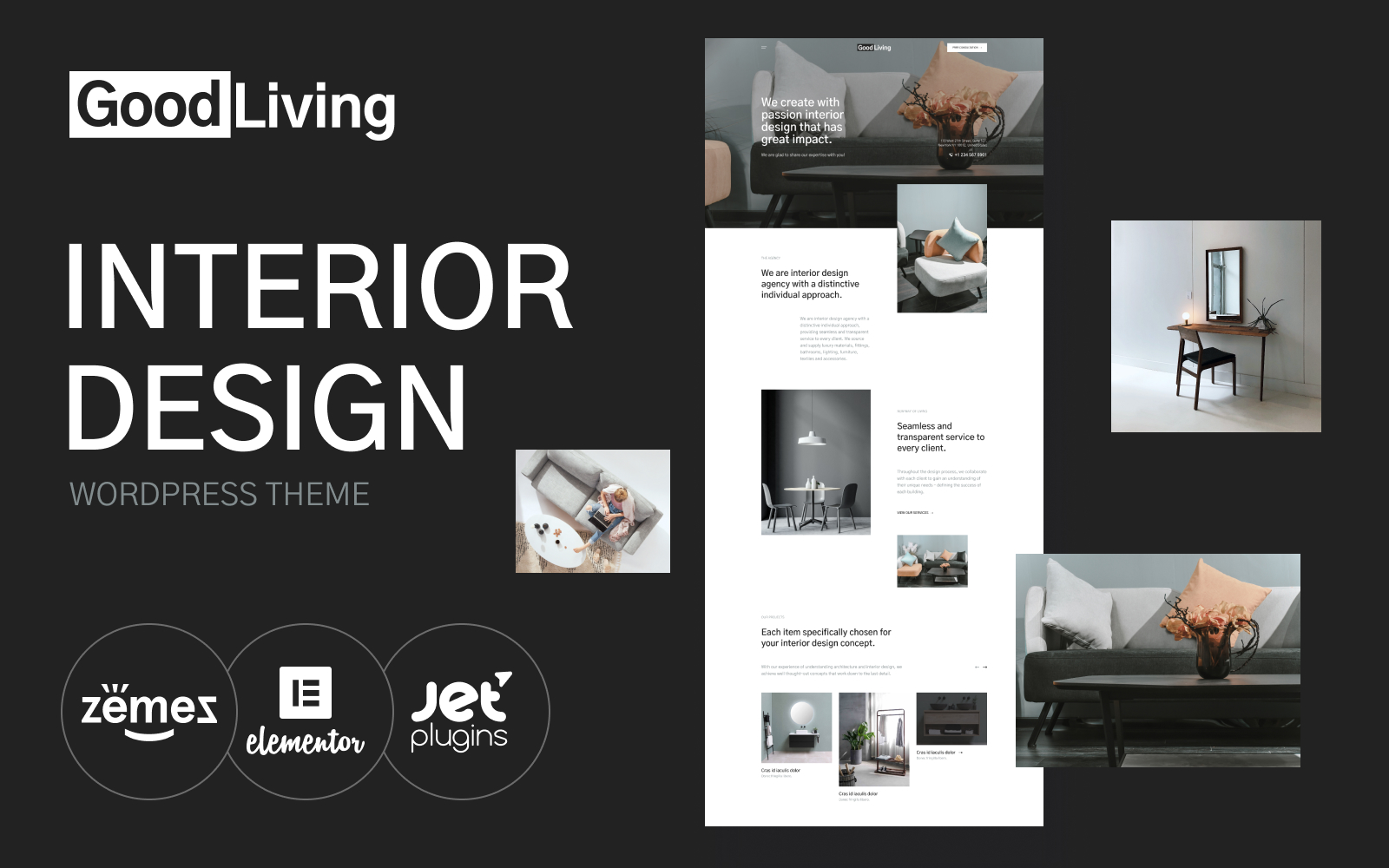 "Tema De WordPress ""GoodLiving - Interior Design"" #118998"