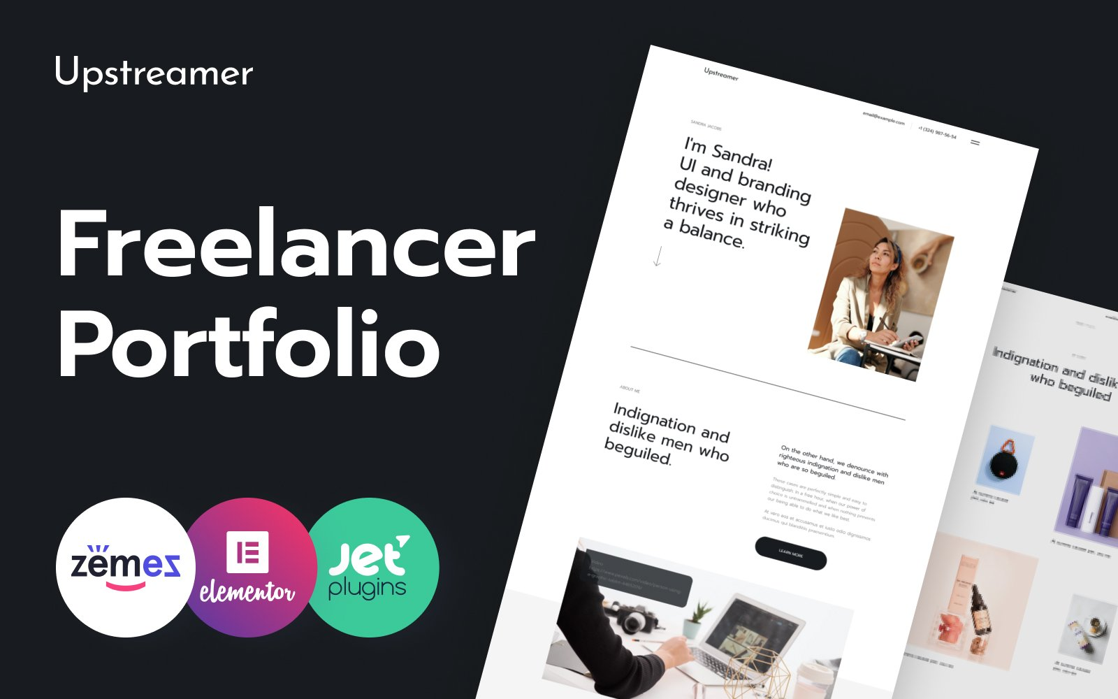 "Modello WordPress Responsive #119000 ""Upstreamer - Freelancers Marketplace"""