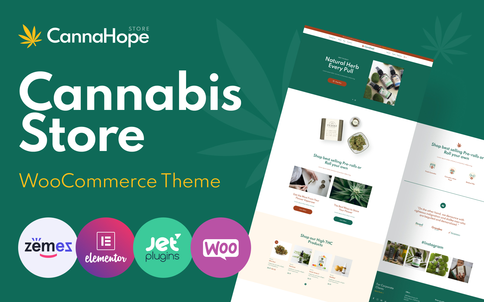 """CannaHope - Medical Marijuana and Cannabis"" Responsive WooCommerce Thema №119145"