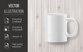 Cup on Wooden Backdrop - Vector Image