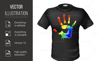 Fashionable Black T-shirt with a Sign - Vector Image